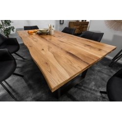 Masívny jedálenský stôl Verge 200cm dub 35mm prírodný hnedý čierny