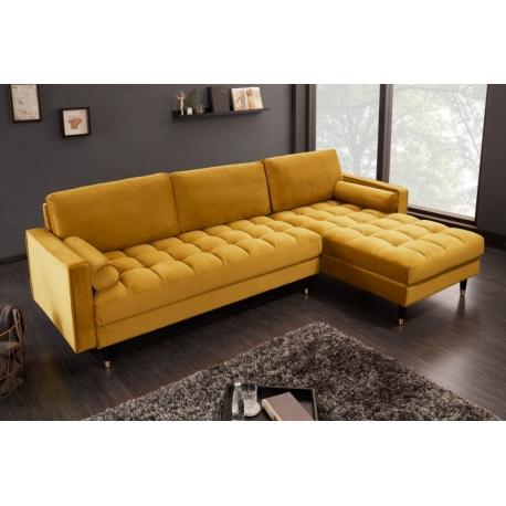 Rohový gauč do L Velvet 260cm horčicová žltá zamat