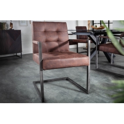 Stolička Taurus s podrúčkami vintage hnedá