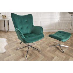 Štýlová otočná stolička/kreslo Mezzo 100-110 cm smaragdovo zelená zamat