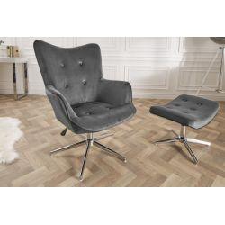 Štýlová otočná stolička/kreslo Mezzo 100-110 cm šedá