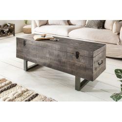 Lavica / Konferenčný stolík s úložným priestorom Industrial Studio 115 cm šedá akácia