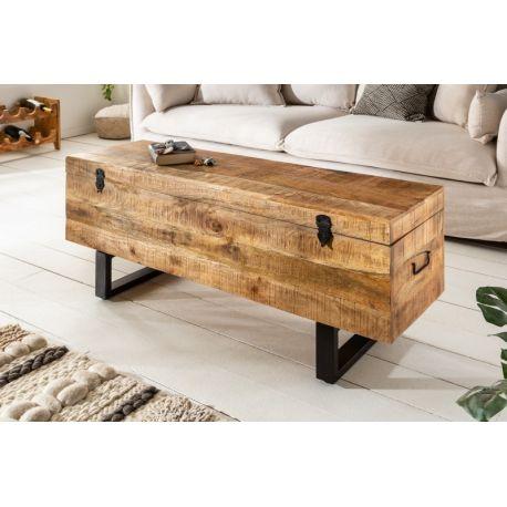 Lavica / Konferenčný stolík s úložným priestorom Industrial Studio 115 cm prírodná mango
