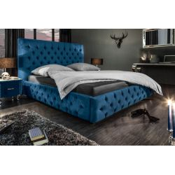 Luxusná posteľ Palais 180x200 cm tmavomodrá zamat