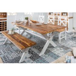 Masívny rustikálny jedálenský stôl Massali 160cm biela 35mm mango