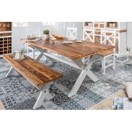 Masívny jedálenský stôl Massali 200cm biela 35mm mango