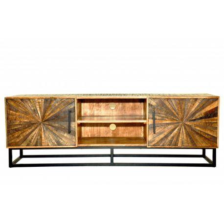Drevený TV stolík s dvierkami Timber Art 145 cm masív mango