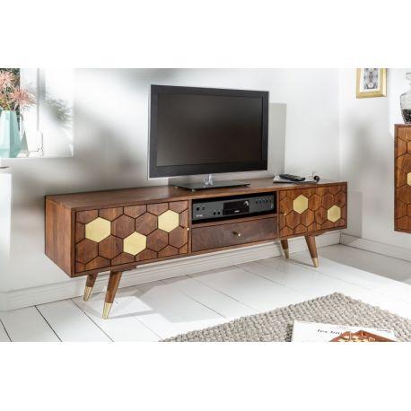 Retro TV stolík na nožičkách Miracle 140 cm zlatý akácia masív