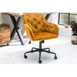 Luxusná kancelárska stolička Ayax žltá zamat