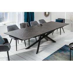 Luxusný rozkladací jedálenský stôl Sirocco 180-220-260cm keramika grafit sivý