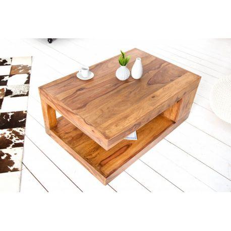 Drevený konferenčný stolík s úložným priestorom Goliath XL 90x60 cm sheesham