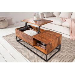 Otvárací konferenčný stolík s úložným priestorom Mandalle Function 110 cm masív sheesham