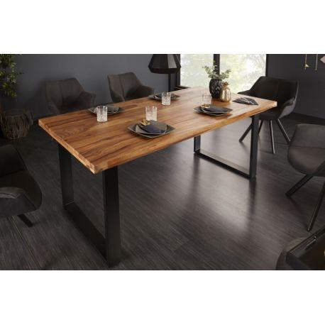 Jedálenský stôl z masívu Tango II 160 cm sheesham 45mm hnedý kov čierny