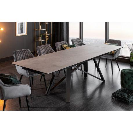 Luxusný rozťahovací jedálenský stôl Mardin 180-220-260 cm betónová sivá keramika