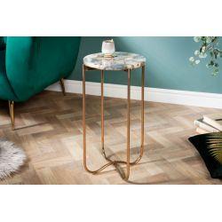 Bočný stolík Marquis I 35 cm achát modrý zlatý