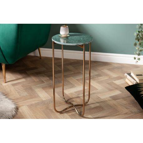 Okrúhly bočný stolík Marquis I 35 cm mramor zelený zlatý