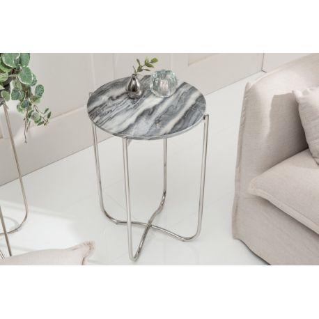 Okrúhly bočný stolík Marquis II 38 cm mramor sivo-strieborný