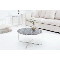 Okrúhly konferenčý stolík Marquis 62 cm mramor šedý strieborný