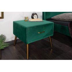 Nočný stolík London smaragdovozelený zamat