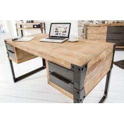Industriálny písací stôl Larnaka 135 cm akácia teakový sivý