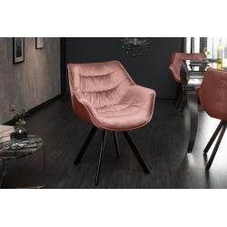 Jedálenská stolička Ayax s operadlom zamat staroružová