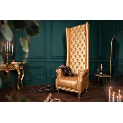 Extravagantné kreslo Royal Chair 189 cm koženka zlaté