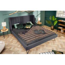 Dizajnová manželská posteľ na nožičkách s vysokým čelom Helsing 160x200 cm antracit