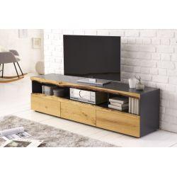 TV stolík so zásuvkami Oakland 180 cm dub sivý hnedý