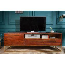 TV stolík s dvierkami a zásuvkou na nožičkách Inline 165 cm akácia hnedá zlatá masív retro