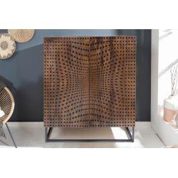 Masívna skrinka na nožičkách Illusion 120 cm drevo mango kov prírodná