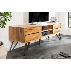 Masívny TV stolík na nožičkách so zásuvkami Verge 160 cm divoký dub drevo kov