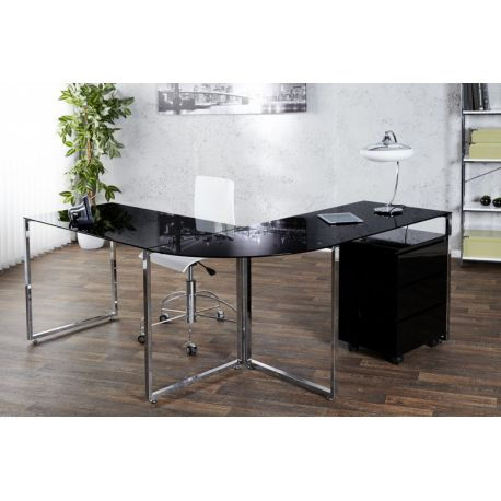Písací stôl Master v tvare L sklo čierny