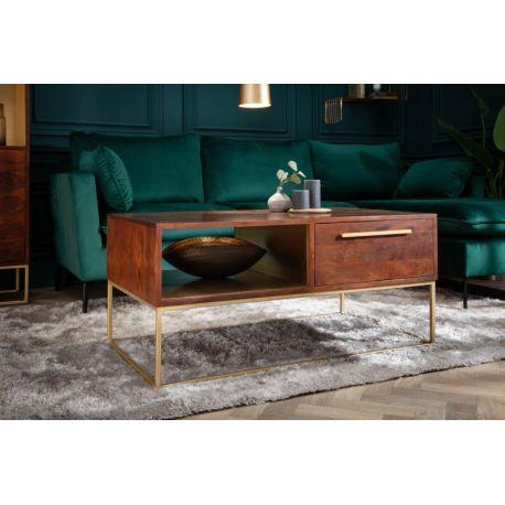 Konferenčný stolík s úložným priestorom Inline 110 cm akácia hnedý zlatý retro