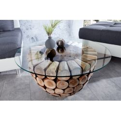 Konferenčný stolík Paradise 70 cm teak podstavec bez skla