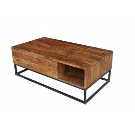 Otvárací konferenčný stolík s úložným priestorom Mandalle Function 110 cm masív sheesham masív prírodný