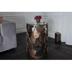 Okrúhly bočný stolík Précis 40 cm sklenený mosadzný
