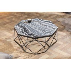 Konferenčný stolík Lost Gem 69 cm mramor šedý čierny