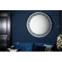 Zrkadlo Noble achát 100 cm kruh strieborné modré