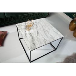 Konferenčný stolík Fusion 50 cm mramor biely