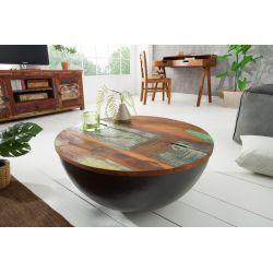 Okrúhly konferenčný stolík Sumatra 70 cm šedý recyklované drevo