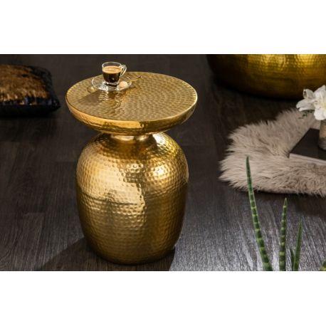 Okrúhly konferenčný stolík Mansour 36 cm hliník zlatý