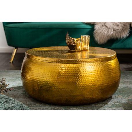 Okrúhly konferenčný stolík Mansour 70 cm s úložným priestorom hliník zlatý