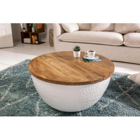Okrúhly konferenčný stolík Mansour 70 cm s úložným priestorom mango masív biely