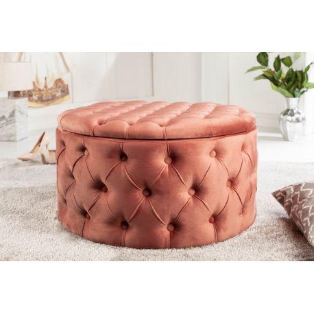 Luxusná okrúhla taburetka Gilt 75 cm s úložným priestorom zamat staroružová