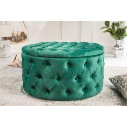 Luxusná okrúhla taburetka Gilt 75 cm s úložným priestorom zamat smaragdovo-zelená