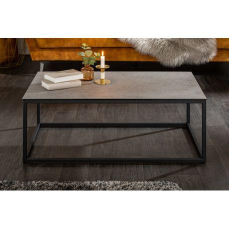 Industriálny konferenčný stolík Spark 100 cm keramika betónový vzhľad šedý čierny