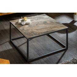 Industriálny konferenčný stolík Spark 75 cm keramika mramorový vzhľad