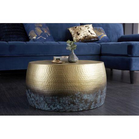 Okrúhly konferenčný stolík Mansour III 60 cm kov-hliník flambovaný zlatý