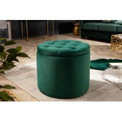 Okrúlha taburetka Gilt 50 cm s úložným priestorom zamat smaragdovo-zelená