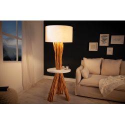 Stojanová lampa Tribes 153 cm s príručným stolíkom masív longan ľan biela